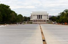 newly constructed reflecting pool dc - stock photo