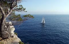 Stock Photo of yacht cruising the mediterranean