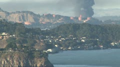 SF Bay oil refinery fire, cu 8-6-12 Stock Footage