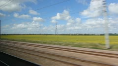 Britain by train. Rapeseed. Stock Footage