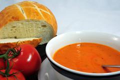 sourdough bread and tomato soup - stock photo
