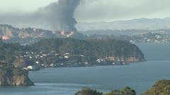 SF Bay oil refinery fire, zm-bk 8-6-12 Stock Footage