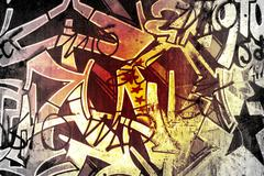 graffiti over old dirty wall, urban hip hop background gray texture painted w - stock illustration