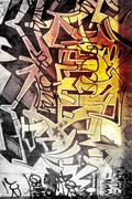 Graffiti over old dirty wall, urban hip hop background gray texture painted w Stock Illustration