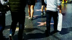 Tourist's Feet On Hollywood Walk Of Fame 1 Stock Footage