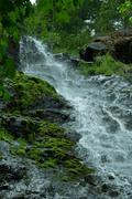 waterfall and moss - stock photo