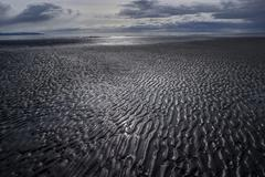 Mud flat patterns at low tide Stock Photos