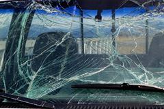 smashed windshield glass - stock photo