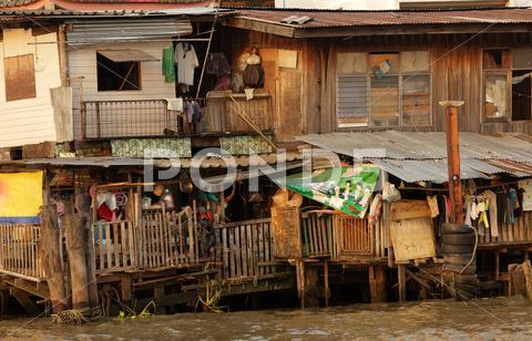 Stock photo of wooden shanty house