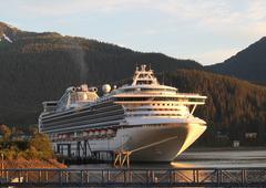 Cruise ship in juneau alaska in evening light Stock Photos