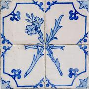 blue tiles detail of portuguese glazed - stock photo