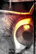 Stock Illustration of eye over old dirty wall, urban hip hop background gray texture painted with b