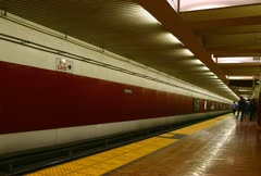 Time lapse movie of subway car arriving and leaving the station Stock Footage