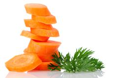 Pile of carrot slices Stock Photos