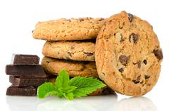 Chocolate chip cookies with chocolate parts Stock Photos