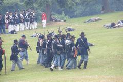 Stock Photo of union infantry maneuvers during a mock civil war battle
