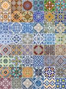 set of 48 ceramic tiles patterns - stock photo