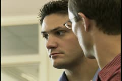 Close-up of two businessmen discussing Stock Footage