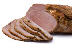 Slices of delicious ham Stock Photos