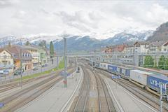 Spiez, switzerland - april 18: main station in the middle of a village in spi Stock Photos