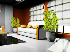Waiting room with orange and white leather furniture Stock Illustration