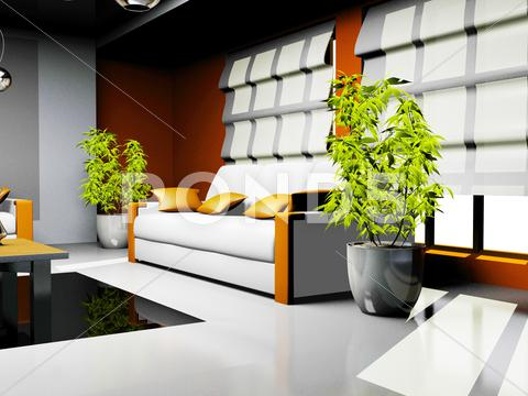 Stock Illustration of waiting room with orange and white leather furniture