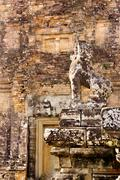stone guardian at pre rup - stock photo