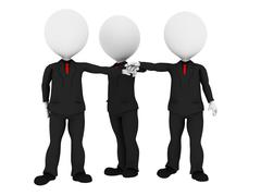 3d rendered business people in uniform putting hands together all for one - b - stock illustration