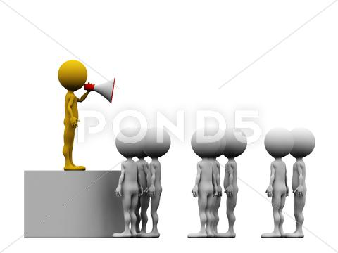 Stock Illustration of 3d leader making an announcement with a red megaphone to his team - isolated
