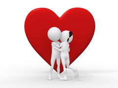Beautiful 3d love couple embracing against a big red heart on white backgroun Stock Illustration