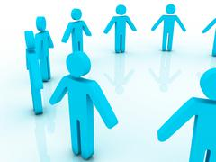 3d people in a big circle Stock Illustration