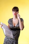 Stock Photo of beauty woman read smart book - pin-up style