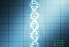 Computer animated video clip of a strand of dna superimposed over an image of a Stock Footage