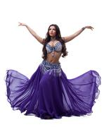 oriental dancer in purple dress - stock photo