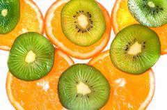 Oranges and kiwi Stock Photos