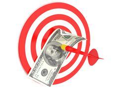one-hundred dollar bill on a dartboard - stock illustration