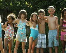 Children in bathing suits Stock Footage