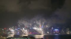 Victoria Harbour Fireworks, Hong Kong 14 - stock footage