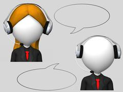 customer service operator with headset and speech bubbles - stock illustration
