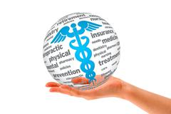 Hand holding a caduceus sphere Stock Illustration