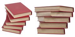 piles of red books - stock photo