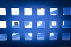 square blue windows - stock photo