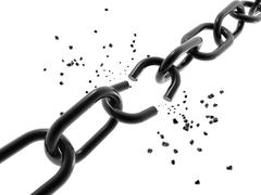 a computer generated image of a chain with a broken link. - stock illustration