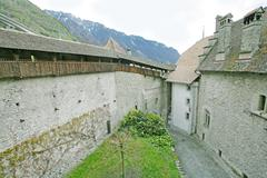 chillon castle, montreux switzerland.  place where the kids play and the coun - stock photo