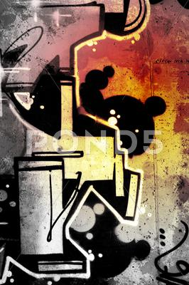 Stock Illustration of stains over old dirty wall, urban hip hop background gray texture painted wit