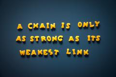 a chain is only strong as its weakest link - stock photo