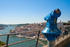 wide view of the city of porto - stock photo