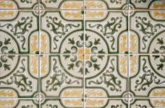 traditional portuguese glazed tiles - stock photo