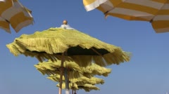 Italy - Beach - parasol Stock Footage