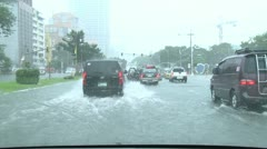 Driving In Flooded Road Tropical Storm - stock footage